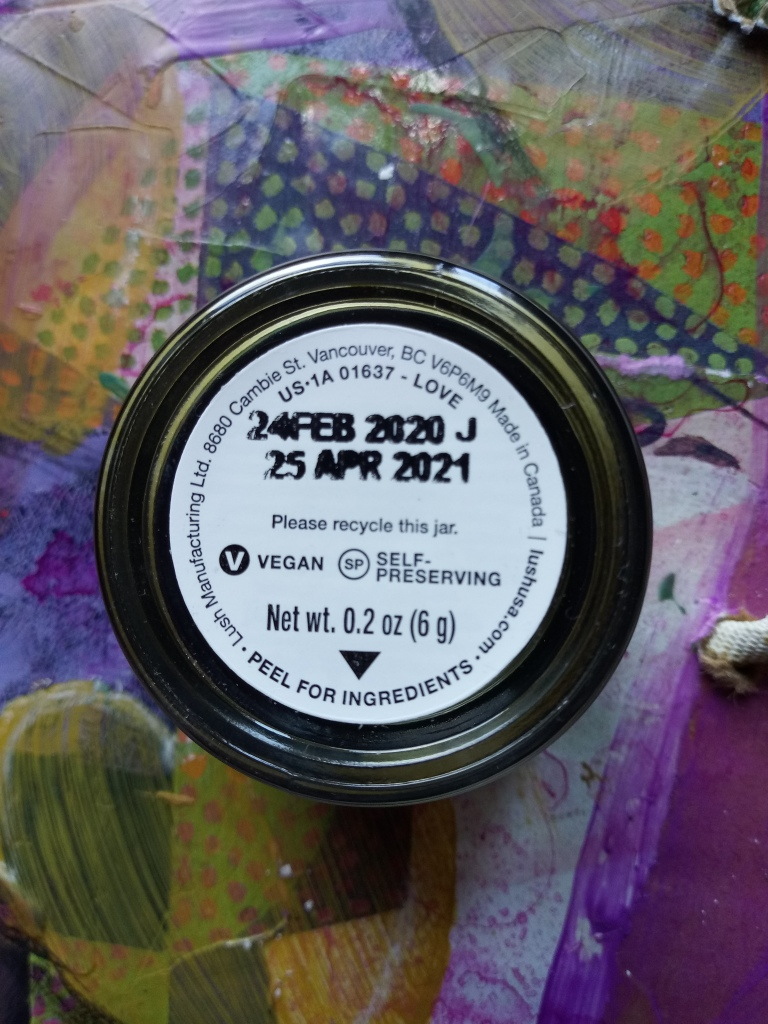 The bottom of Lush Love solid perfume, showing a creation date of 24 February 2020 and an end date of 25 April 2021