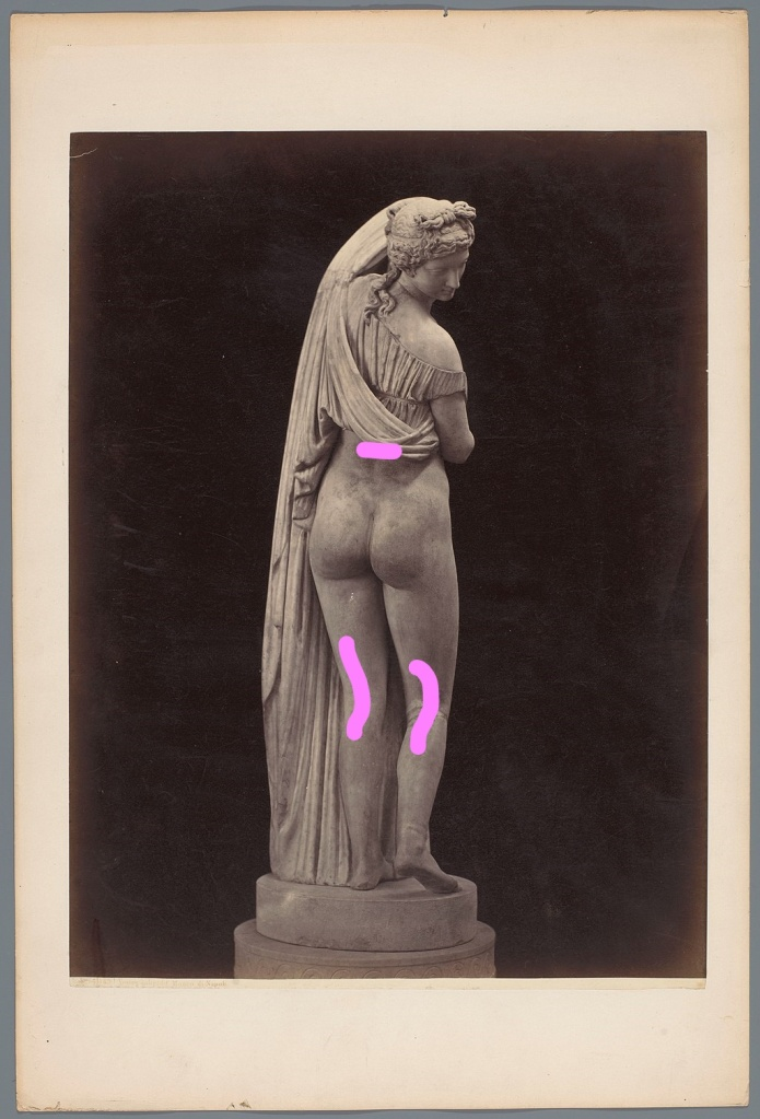 Venus Callipyge statue, with pink makings just above her waist and down the back of each knee to show where to apply solid fragrance.