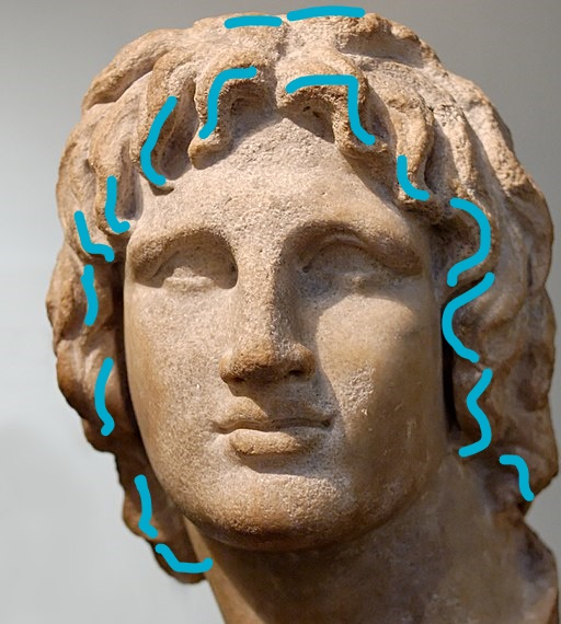Bust of Alexander the great, with blue annotations showing where to apply solid fragrance in the hair