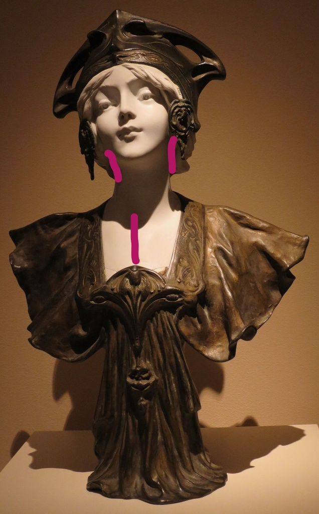 Bust of a beautiful woman in elaborate headgear, with pink annotations at ears and throat to show where to apply perfume.