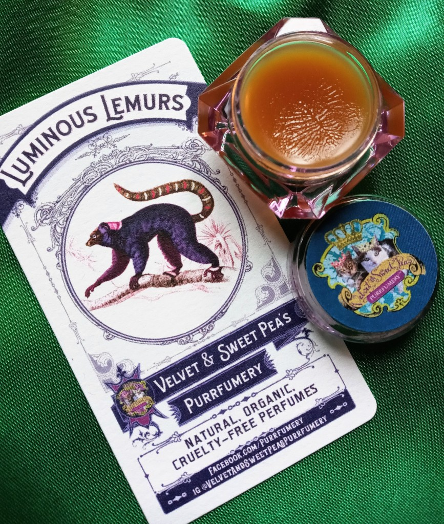 Luminous Lemurs perfume and information card, wtih the lid removed