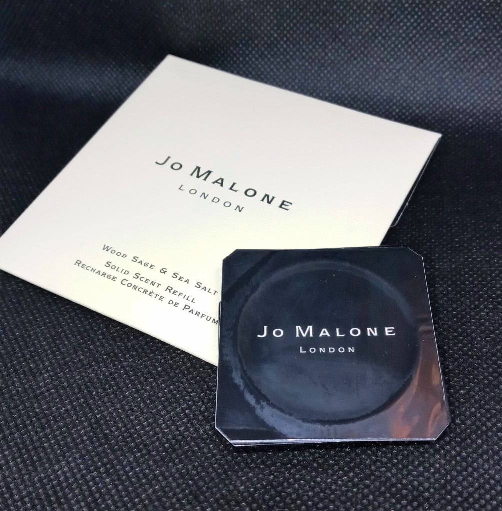 The Jo Malone Wood Sage and Sea Salt refill, showing the sticker top and paper envelope