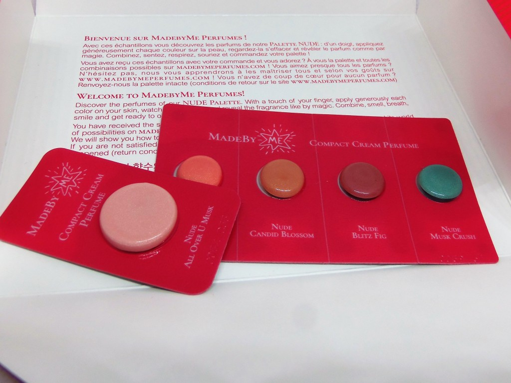 The Made By Me sample kit, opened to show the five sample perfumes inside