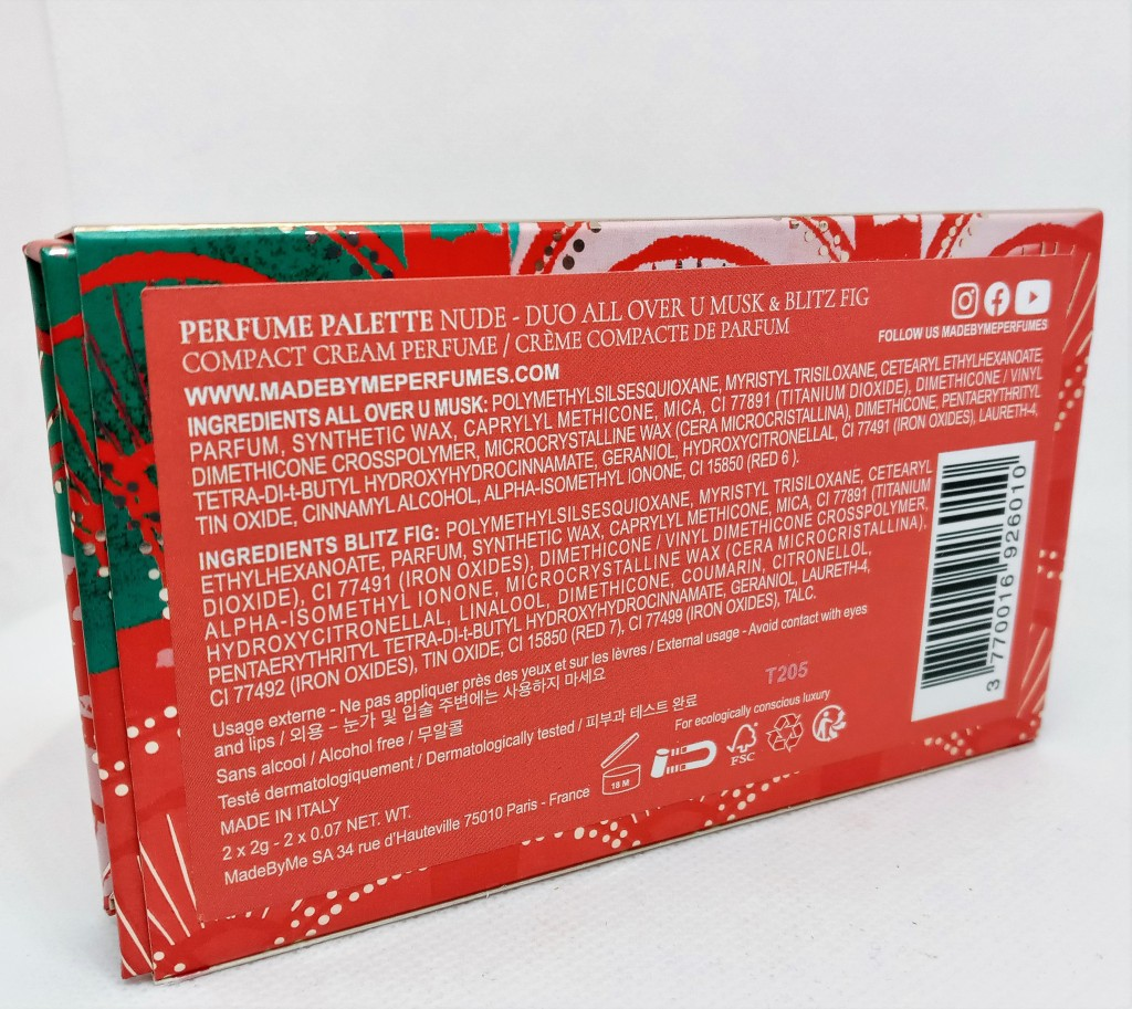 The back of the sleeve encasing the palette, showing the ingredients