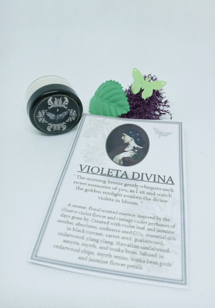 Violeta Divina next to its product card, adorned with purple moss, a green silk leaf and a decorative butterfly